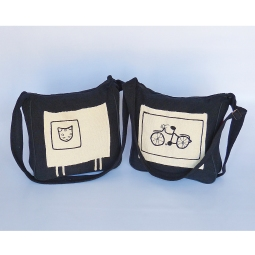 Cat Bag WSDO-C008 and Bicycle Bag WSDO-C006 each Size: 30x30x8cm Weight: 320g, available at Oxfam Shops