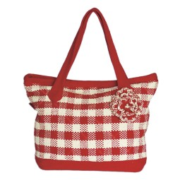 WSDO-B009, Koro Bag with Flower, Size: 30x42x12cm, Weight: 535g.