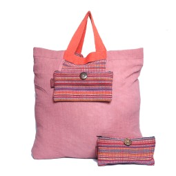 WSDO-A002, Cotton Shopping Bag, Size: 46x40cm/11x21cm (when folded into self-containing pocket), Weight: 120g.